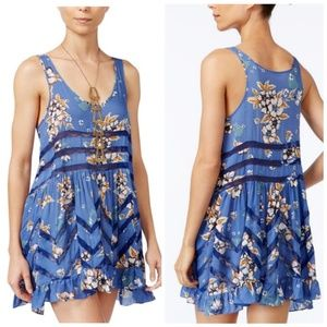 Free People Blue Floral Voile and Lace Slip Dress